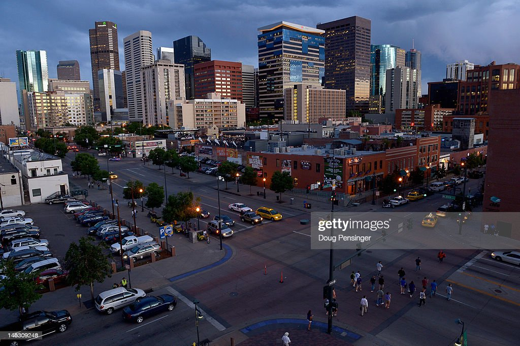 A view of the intersection of 20th Street and Blake Street with the Denver skyline in the background from the Coors Field as the Oakland Athletics...