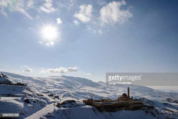 PALACE DOGUBAYAZIT AGRI TURKEY View of the Ishak Pasha Palace on the snow capped mpuntains near the border with Iran on the Silk Road