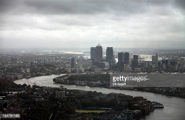 A view of the Isle of Dogs and Canary Wharf from the 69th floor of The Shard skyscraper on the preview day to mark the sale of tickets for the 'View...