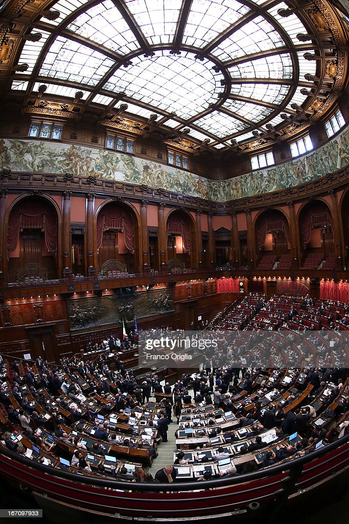 A view of the Italian Chamber of Deputies as Parliament votes for a new President of Republic on April 20, 2013 in Rome, Italy. More than 1,000 politicians gather in the lower house of parliament for the third day to vote in a successor for Giorgio Napolitano.