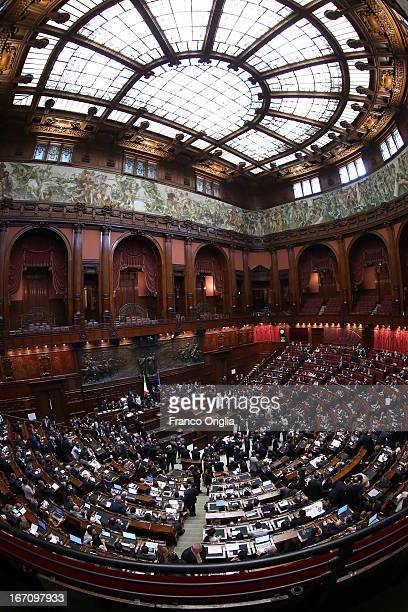 A view of the Italian Chamber of Deputies as Parliament votes for a new President of Republic on April 20 2013 in Rome Italy More than 1000...
