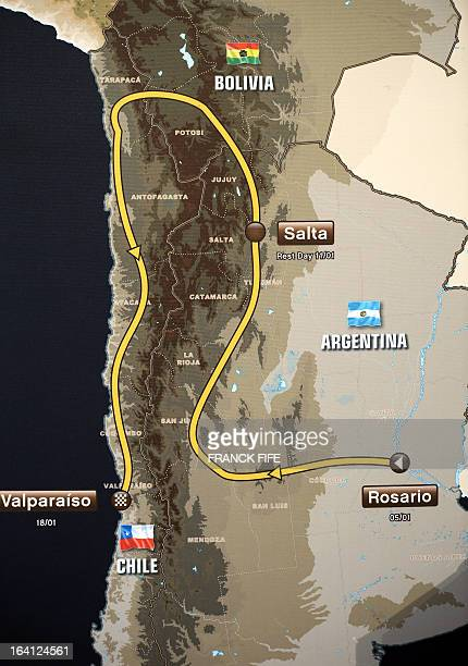 View of the itinerary for the 2014 edition of the Dakar Rally on March 20 2013 in Paris The 2014 Dakar will kick off on January 5 in Rosario...