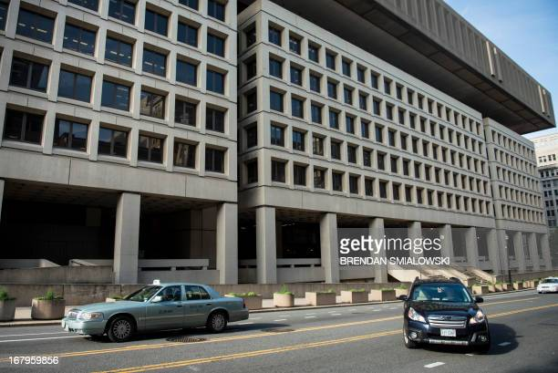 A view of the J Edgar Hoover Building the headquarters for the Federal Bureau of Investigation on May 3 2013 in Washington DC The FBI announcement...