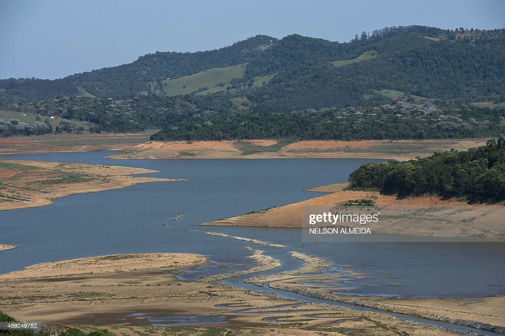 View of the Jacarei river dam during a drought affecting Sao Paulo state in Piracaia on November 19 2014 The Jacarei river dam is part of the Sao...
