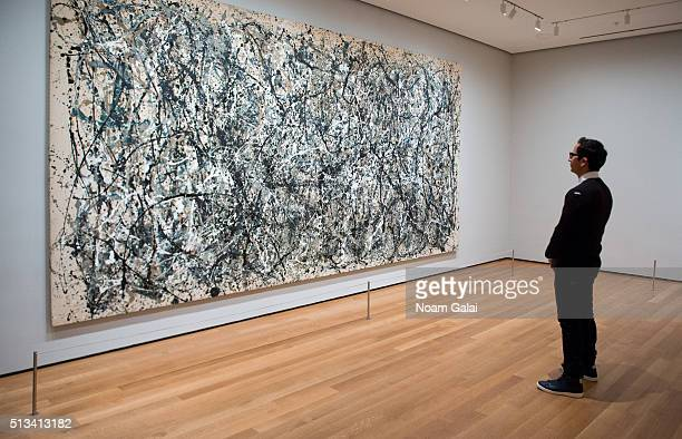 A view of the Jackson Pollock exhibit as seen during the 2016 Museum Of Modern Art Armory Party at MOMA on March 2 2016 in New York City