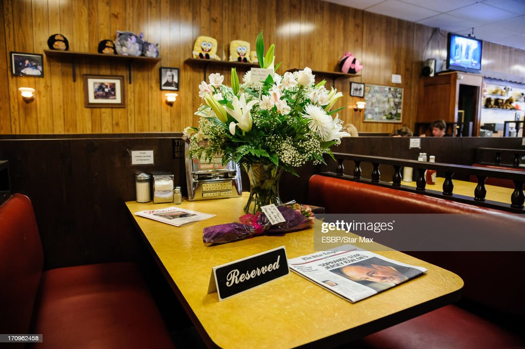 A view of the James Gandolfini tribute at Holsten's Ice Cream Parlor as seen on June 20, 2013 in Bloomfield, New Jersey.
