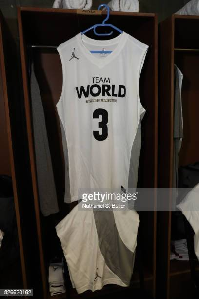 A view of the jersey CJ McCollum of Team World in the 2017 Africa Game as part of the Basketball Without Borders Africa at the Ticketpro Dome on...
