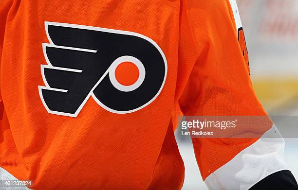 A view of the jersey logo of the Philadelphia Flyers during warmups prior to a game against the Ottawa Senators on January 6 2015 at the Wells Fargo...