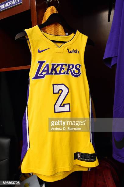 A view of the jersey of Lonzo Ball of the Los Angeles Lakers before the game against the Denver Nuggets during a preseason game on October 2 2017 at...