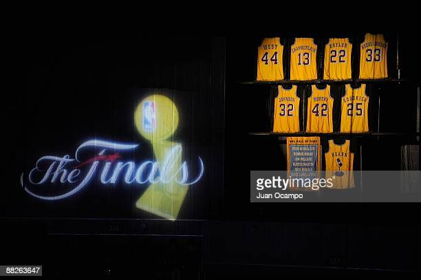 A view of the jerseys retired in honor of Laker greats prior to Game One of the 2009 NBA Finals at Staples Center between the Orlando Magic and the...