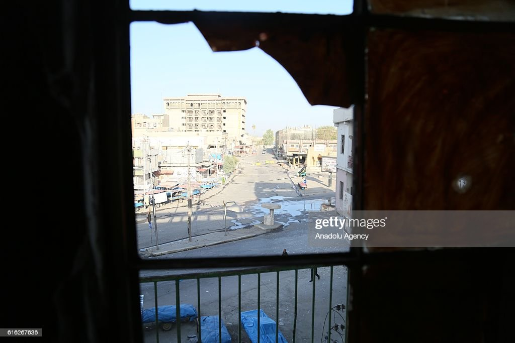 A view of the Jihad Hotel which was cleared of Daesh after being kept by terrorists for two days, as Iraqi security forces patrol on Kirkuk streets where efforts to clear Daesh continue in Kirkuk, Iraq on October 22, 2016. Thirteen people were killed on Friday by a Daesh suicide attack on a power plant in the northern Iraqi city of Kirkuk. A curfew was imposed in Kirkuk in the wake of other attacks, security sources said.