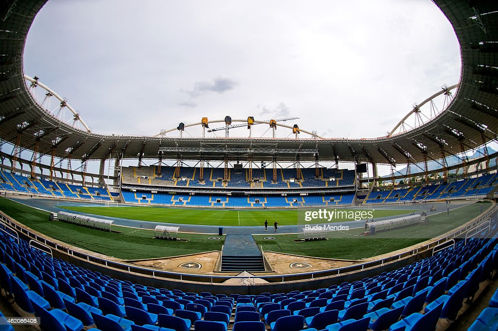 View of the Joao Havelange Stadium during renovation works to be the Olympic stadium for the Rio 2016 Olympic and Paralympic games on January 24 2015...