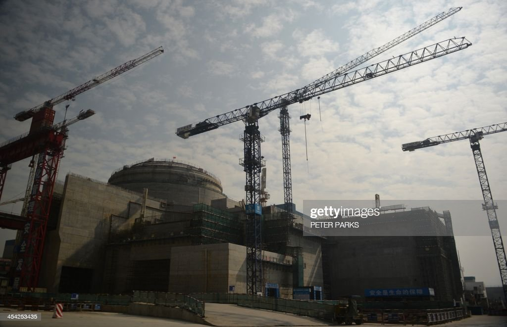 A view of the joint SinoFrench Taishan Nuclear Power Station being built outside Taishan City in Guandong province on December 8 2013 French Prime...