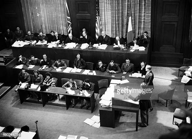 View of the judges bench in Nuremberg International Military Tribunal court taken in November 1945 during the war crimes trial of nazi leaders during...