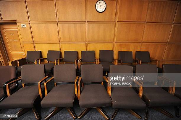 A view of the jury box of a courtroom closed due to budget cuts and layoffs at the Stanley Mosk Courthouse in downtown Los Angeles March 16 2009...
