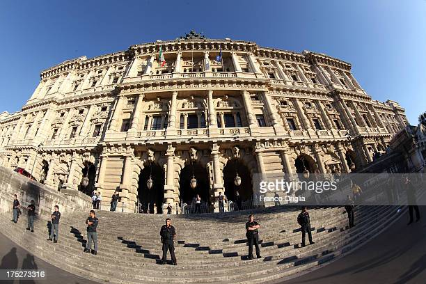 A view of the Justice palace during the verdict of the 'Corte di Cassazione' during the final session to judge former Italian Prime Minister Silvio...