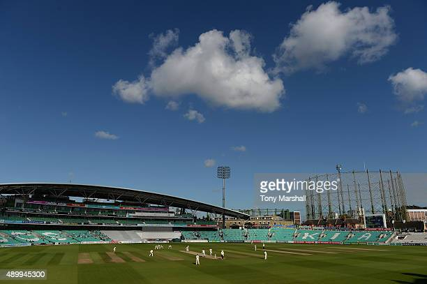 A view of The Kia Oval as Surrey play Northamptonshire during the LV County Championship Division Two match between Surrey and Northamptoshire at The...