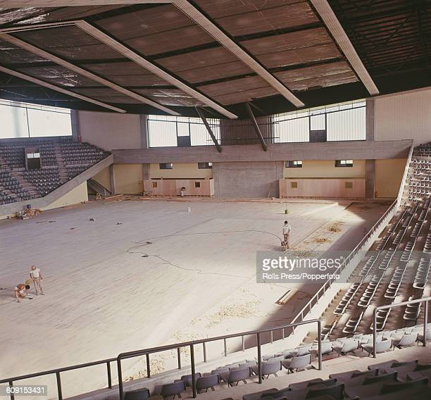 View of the Komazawa Gymnasium one of the sporting arenas that will host events at the 1964 Summer Olympics in Tokyo Japan pictured under...