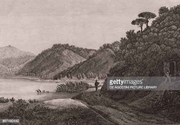 View of the Lake Agnano Phlegraean Fields near Naples Campania Italy copper engraving ca 29x185 cm from Corografia fisica storica e statistica...
