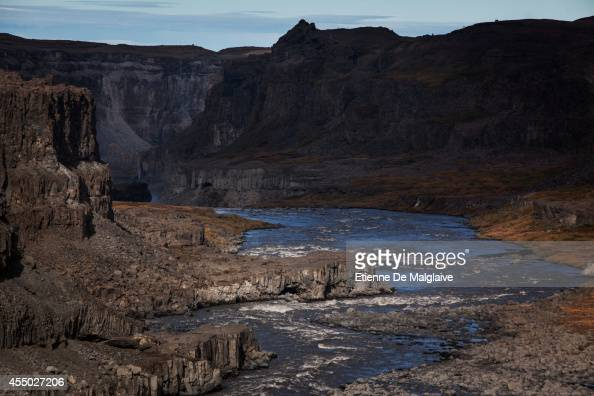 A view of the landscape around the Dettifoss waterfall in Northeast Iceland on September 8 2014 in Iceland The waterfall location was featured in...