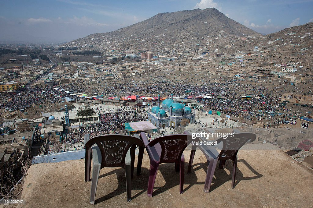 A view of the landscape as Afghan families gather near the Sakhi shrine, which is the centre of the Afghanistan new year celebrations during the Nowruz festivities on March 21, 2013 in Kabul, Afghanistan. Nowruz is an ancient festival which marks the beginning of the spring equinox and the start of the year in the Iranian calendar, which this coming year will be 1392.