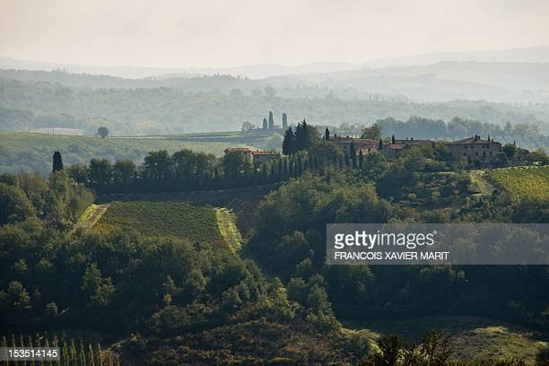 A view of the landscape near Gaiole in Chianti two days ahead of L'Eroica retro cycling race on October 5 2012 More than 5500 competitors from all...