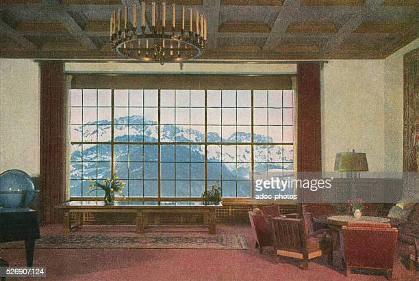 View of the large room facing the Untersberg massif in the Berghof Hitler's second home in the Bavarian Alps near Berchtesgaden Ca 1937