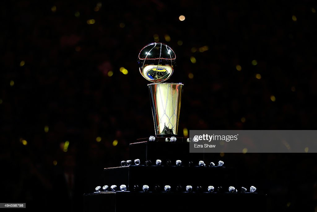 A view of the Larry O'Brien NBA Championship Trophy and the Golden State Warriors championship rings prior to the NBA season opener against the New...