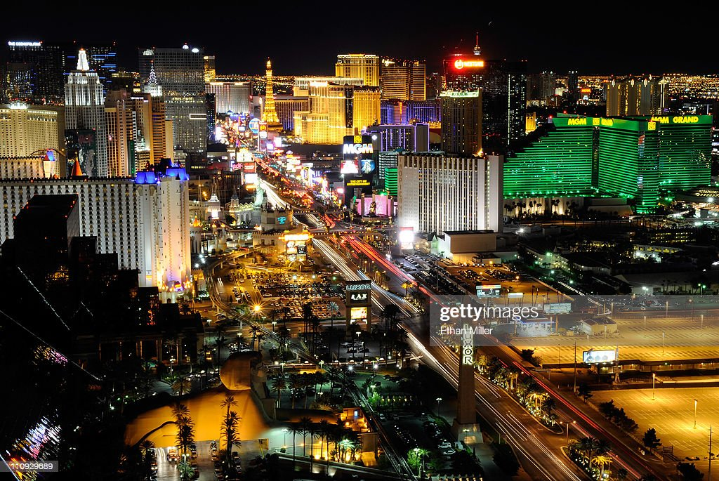 A view of the Las Vegas Strip seen before Earth Hour from the House of Blues Foundation Room inside the Mandalay Bay Resort Casino March 26 2011 in...