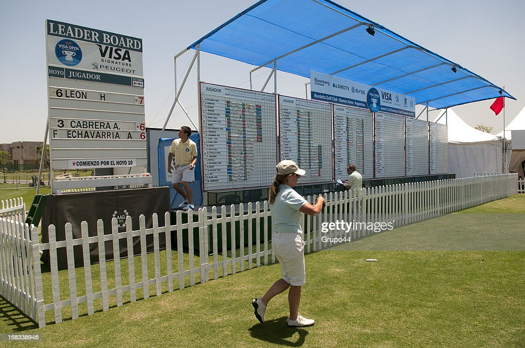 View of the leaderboard during the opening day of the 107 Visa Golf Open presented by Peugeot as part of the PGA Latin America at Nordelta Golf Club on December 13, 2012 in Buenos Aires, Argentina.