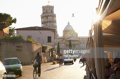 View of the Leaning Tower of Pisa from city street, Pisa, Toscano, Italy