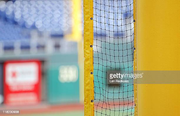 A view of the left field foul pole prior to a game between the Philadelphia Phillies and the Boston Red Sox at Citizens Bank Park on June 29 2011 in...