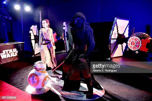 "A view of the LEGO figures during the after party for the World Premiere of ""Star Wars The Force Awakens"" on Hollywood Blvd on December 14 2015 in..."