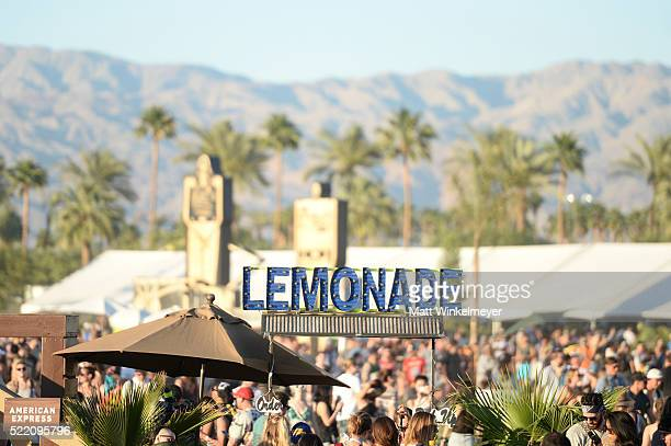 A view of the lemonade stand during day 3 of the 2016 Coachella Valley Music And Arts Festival Weekend 1 at the Empire Polo Club on April 17 2016 in...