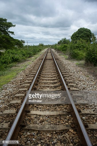 view of the length of railway : Stock Photo