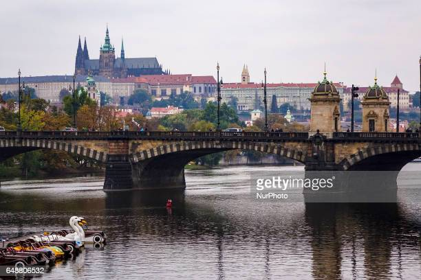 View of the Lesser Quarter or Mala Strana with Prague Castle 10th 14th centuries the largest ancient castle in the world and St Vitus cathedral a...