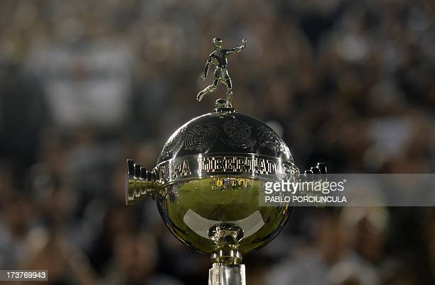 View of the Libertadores Cup trophy before the start of the first leg final between Paraguay's Olimpia and Brazil's Atletico Mineiro at Defensores...
