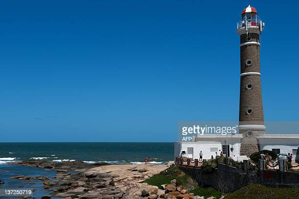 View of the lighthouse of Jose Ignacio located nearby Punta del Este one of the most exclusive seaside resorts of Latin America 140 km east from...