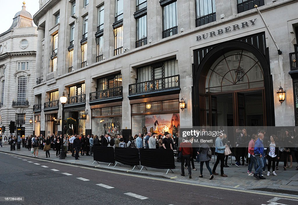 A view of the line outside Burberry Live at 121 Regent Street at Burberry on April 23, 2013 in London, England.