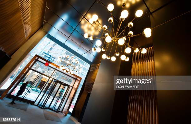 A view of the lobby of the American Copper Building is seen at 626 First Avenue on March 17 2017 in New York The building is a dualtower residential...