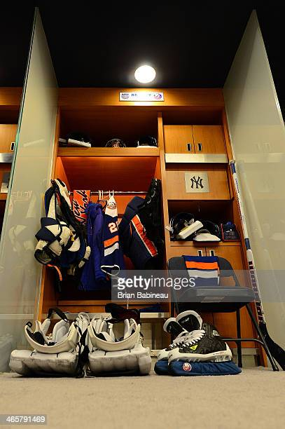 A view of the locker of Evgeni Nabokov of the New York Islanders prior to the 2014 Coors Light NHL Stadium Series at Yankee Stadium on January 29...