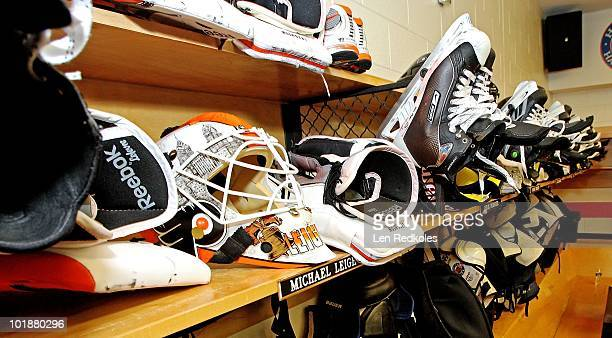A view of the locker of Michael Leighton of the Philadelphia Flyers after the Flyers defeated the Chicago Blackhawks 53 in Game Four of the 2010 NHL...