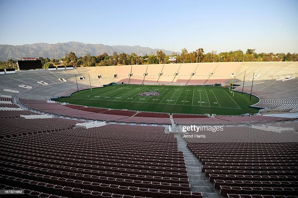 A view of the logo for the 2014 BCS National Championship game is unveiled at the 100th Rose Bowl game press conference at Rose Bowl Stadium on April 23, 2013 in Pasadena, California.