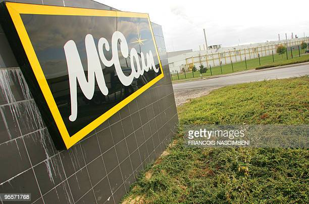View of the logo of McCain deep frozen French fries factory producing 26 tons per hour on October 1 2009 in Matougues northern France McCain Foods...