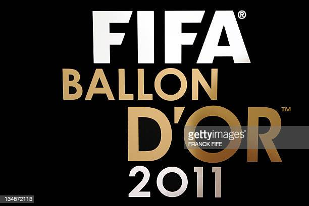 View of the logo of the FIFA Ballon d'Or award taken on December 5 2011 in Paris on the sideline of a press conference aimed at presenting this...