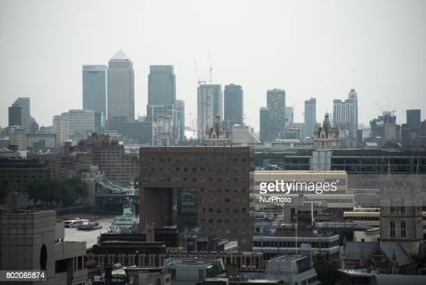 View of the London Bridge Quarter Development against the backdrob of Canary Wharf' skyline London on June 27 2017