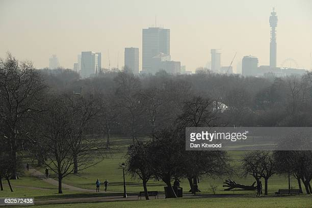 A view of the London skyline from Primrose Hill on January 24 2017 in London England The Mayor of London Sadiq Khan has announced that a toxic air...