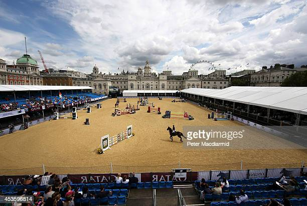 A view of the London stage of The Longines Global Champions Tour one most prestigious show jumping events in the world at Horse Guards Parade Ground...
