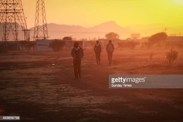 A view of the Lonmin Platinum mine ahead of the commemoration rally of the second anniversary of the Marikana massacre on August 14 2014 in...
