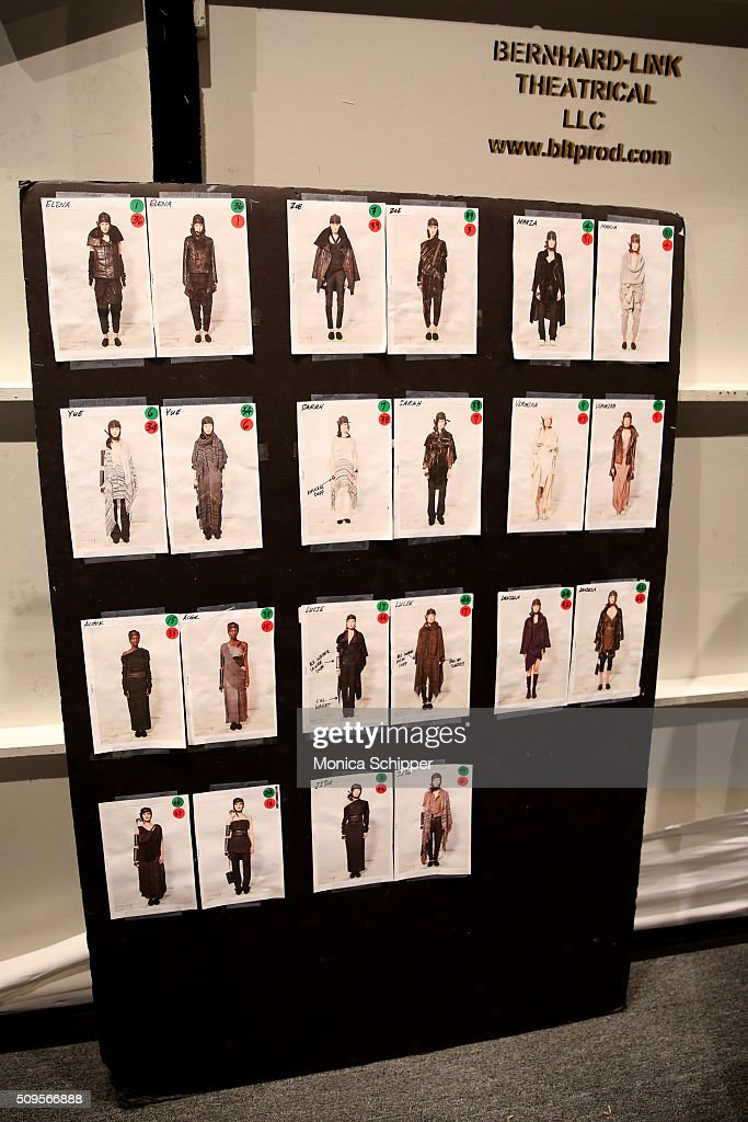 A view of the looks board backstage at the Nicholas K Fall 2016 fashion show during New York Fashion Week: The Shows at The Dock, Skylight at Moynihan Station on February 11, 2016 in New York City.